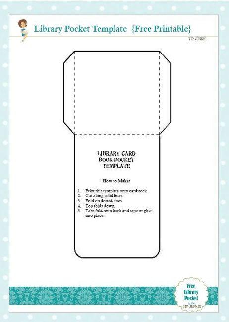 free library card book pocket template printable kids. Black Bedroom Furniture Sets. Home Design Ideas