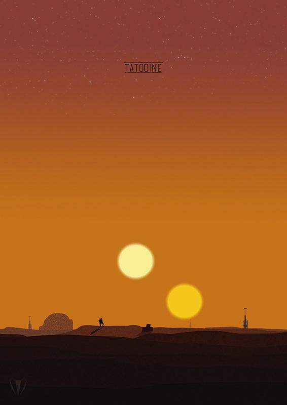 Tatooine Minimalist Star Wars Print Star Wars Background Star Wars Prints Star Wars Wallpaper