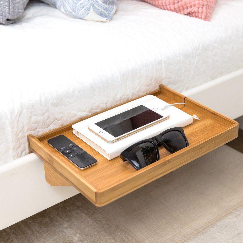 Bedshelfie Modern Bamboo Bedside Shelf Space Saving Floating Nightstand In Natural Bamboo Bed Shelves Apartment Decor Bedside Shelf