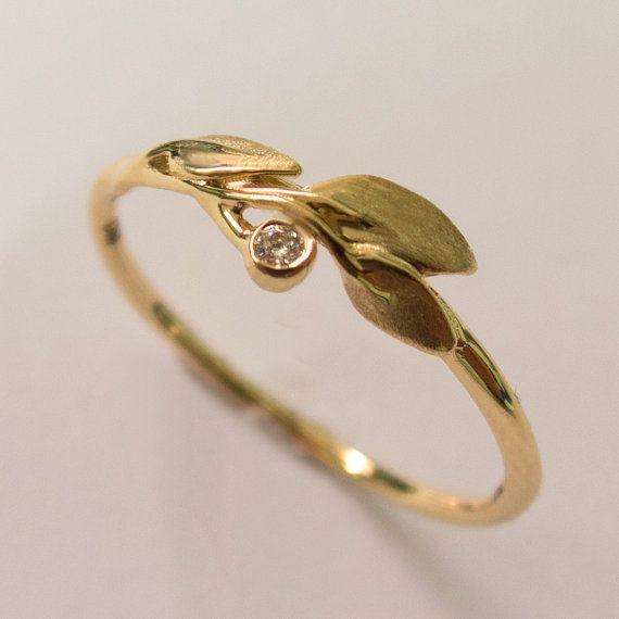 Leaves Diamond Ring No 1  14K Gold and Diamond