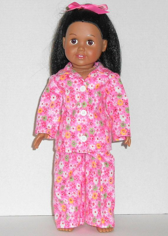 American Girl Doll Clothes Flannel Pajamas Hot Pink Flowers