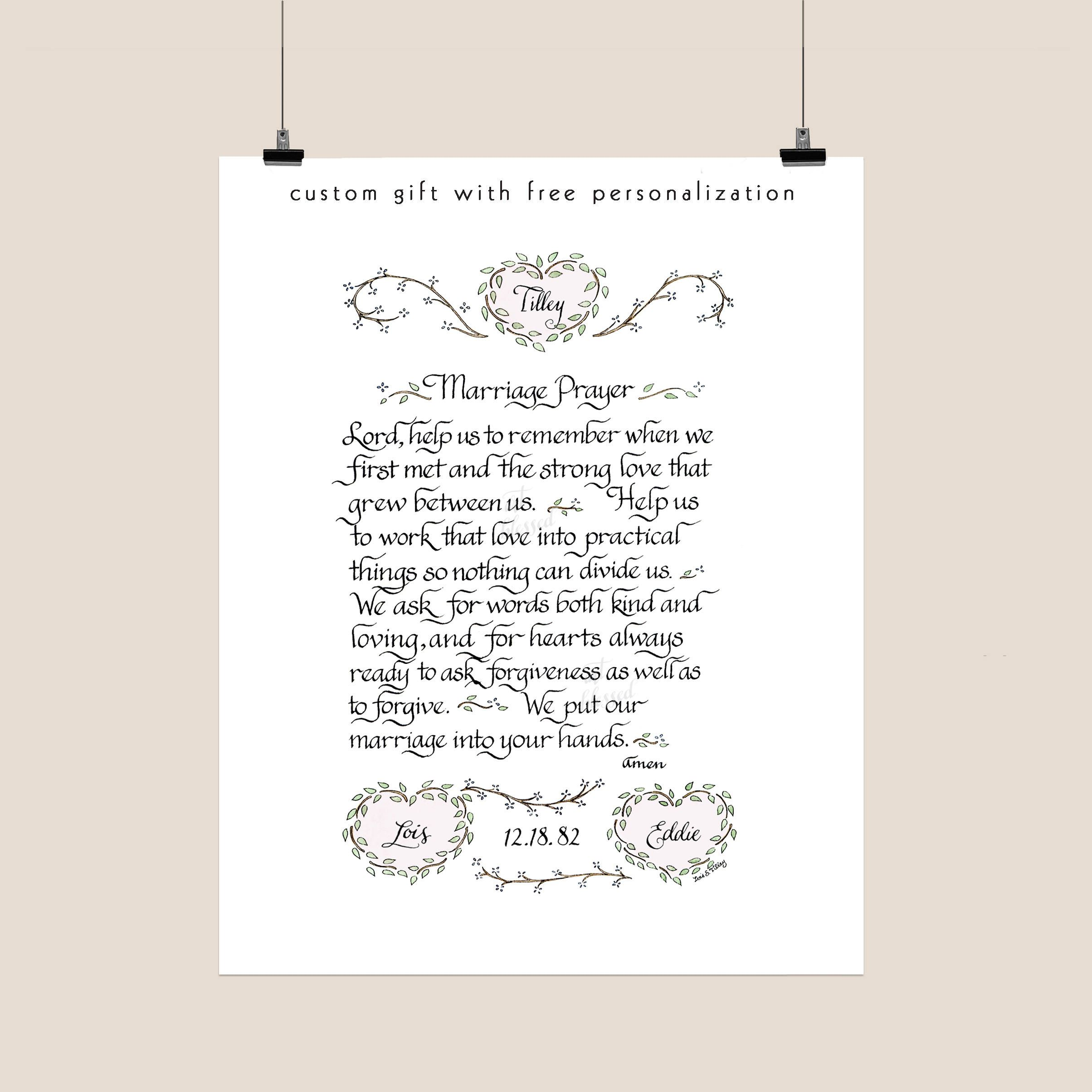 marriage prayer personalized wedding gift anniversary gift housewarming gift bridal shower gift calligraphy art