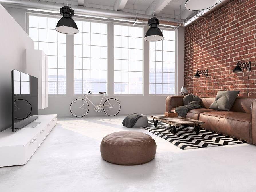 Loft Einrichtung wohnzimmer im loft design braune ledercouch wohnzimmer mit