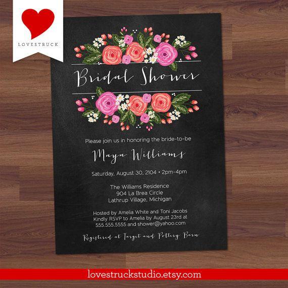 Bridal Shower Invitation Chalkboard  Bouquet by LoveStruckStudio