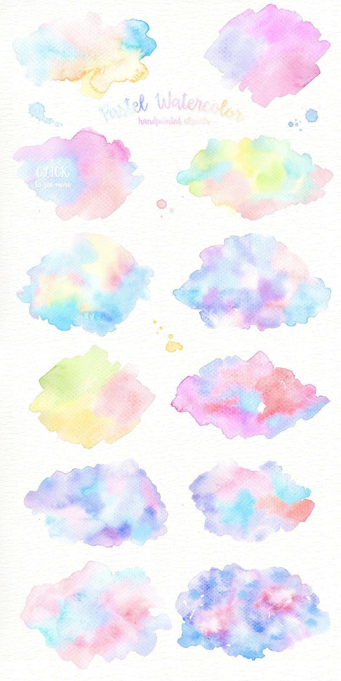 Pastel Watercolor Splashes Clipart ภาพประกอบ ศ ลปะส น ำ เทคน ค