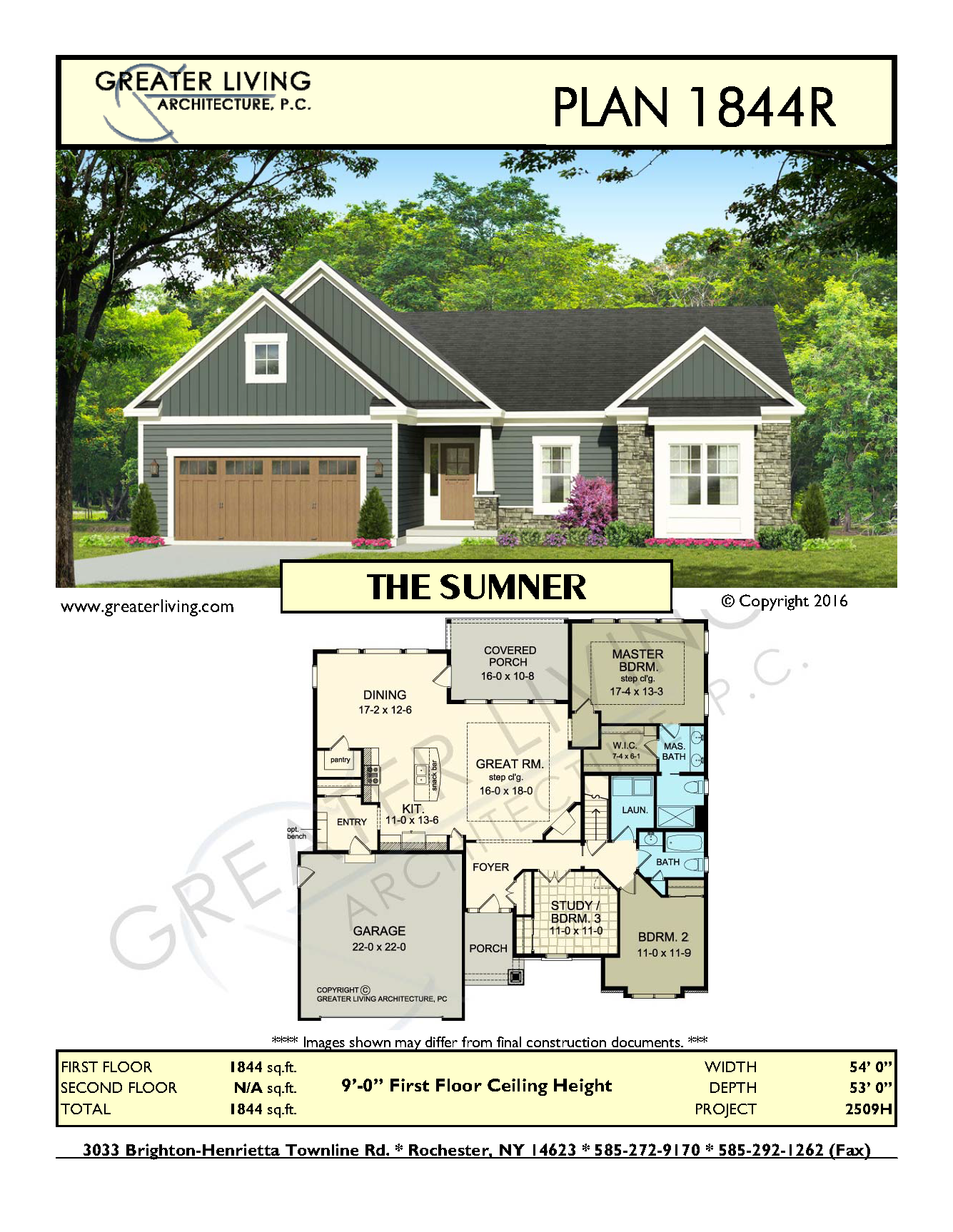 Plan 1844r the sumner ranch house plan greater living for Luxury empty nester house plans