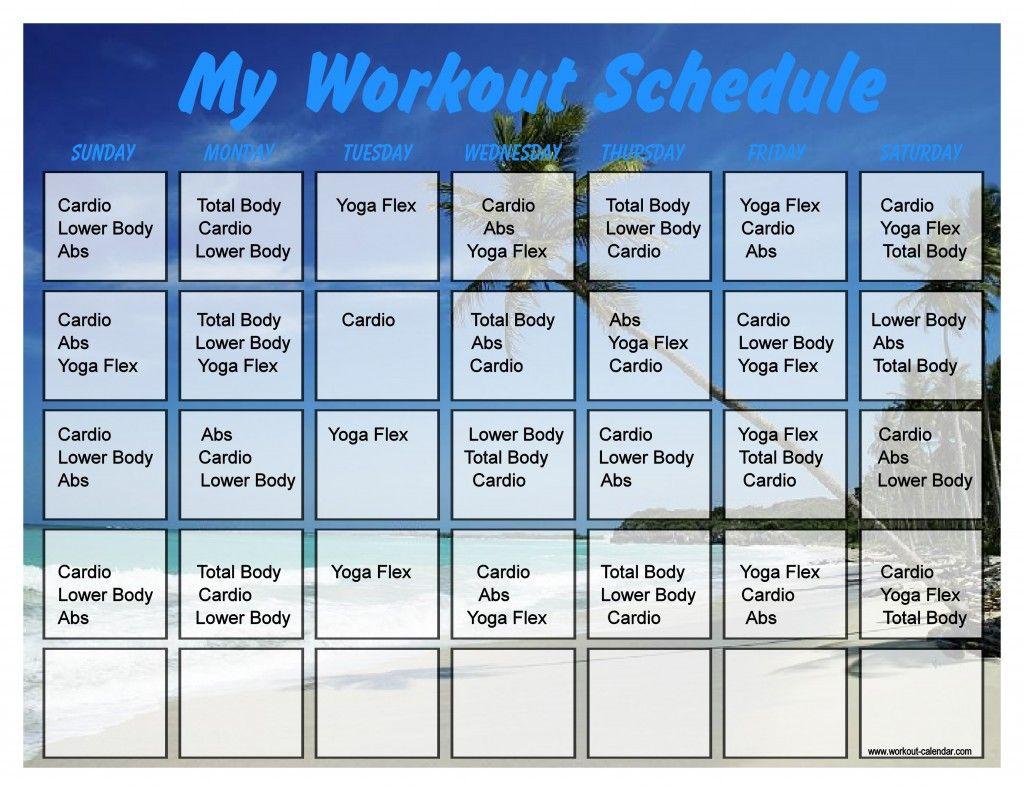 Beach 10 Minute Trainer Calendar 30 10 Minute Trainer Workout Calendar Workout Schedule