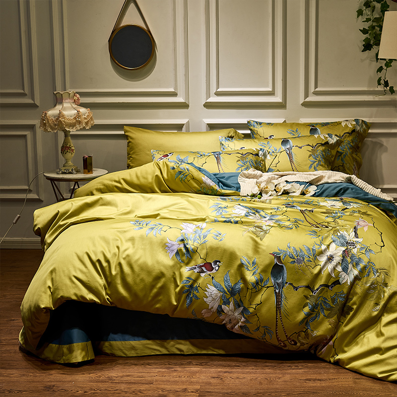 Silky Egyptian Cotton Yellow Chinoiserie Style Birds Flowers Duvet Cover Bed Sheet Fitted Sheet Set King Size Queen Bedding Set Alsupersales Green Duvet Covers Egyptian Cotton Duvet Cover Duvet Covers