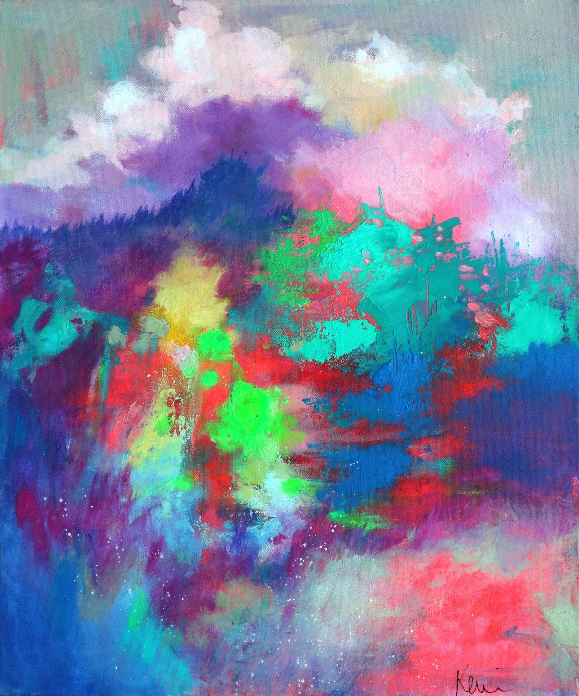 Colorful Abstract Landscape Painting On Ready To Hang Canvas Country Scene A Tangled Path 20 In 2020 Abstract Landscape Painting Canvas Painting Landscape Painting