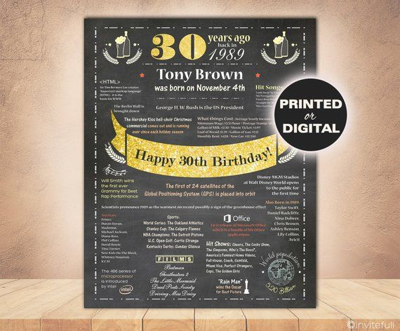 30th Wedding Anniversary Gifts For Him: 30th Birthday Gift For Him,Chalkboard 30th Birthday Poster