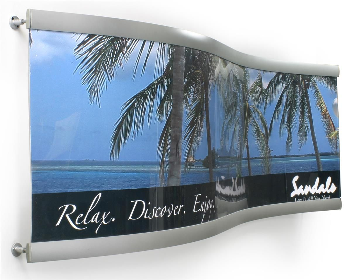 24 X 81 Poster Frame For Wall Side Loading Curved Silver Poster Frame Curve Design Contemporary Frames
