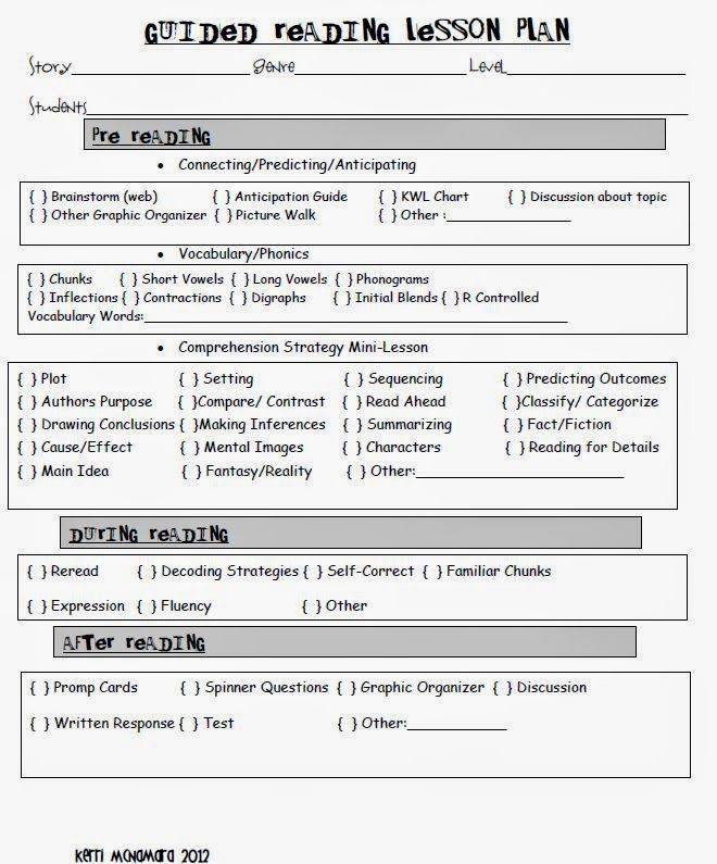 Guided Reading Lesson Plan #guidedreading #lessonplan Guided