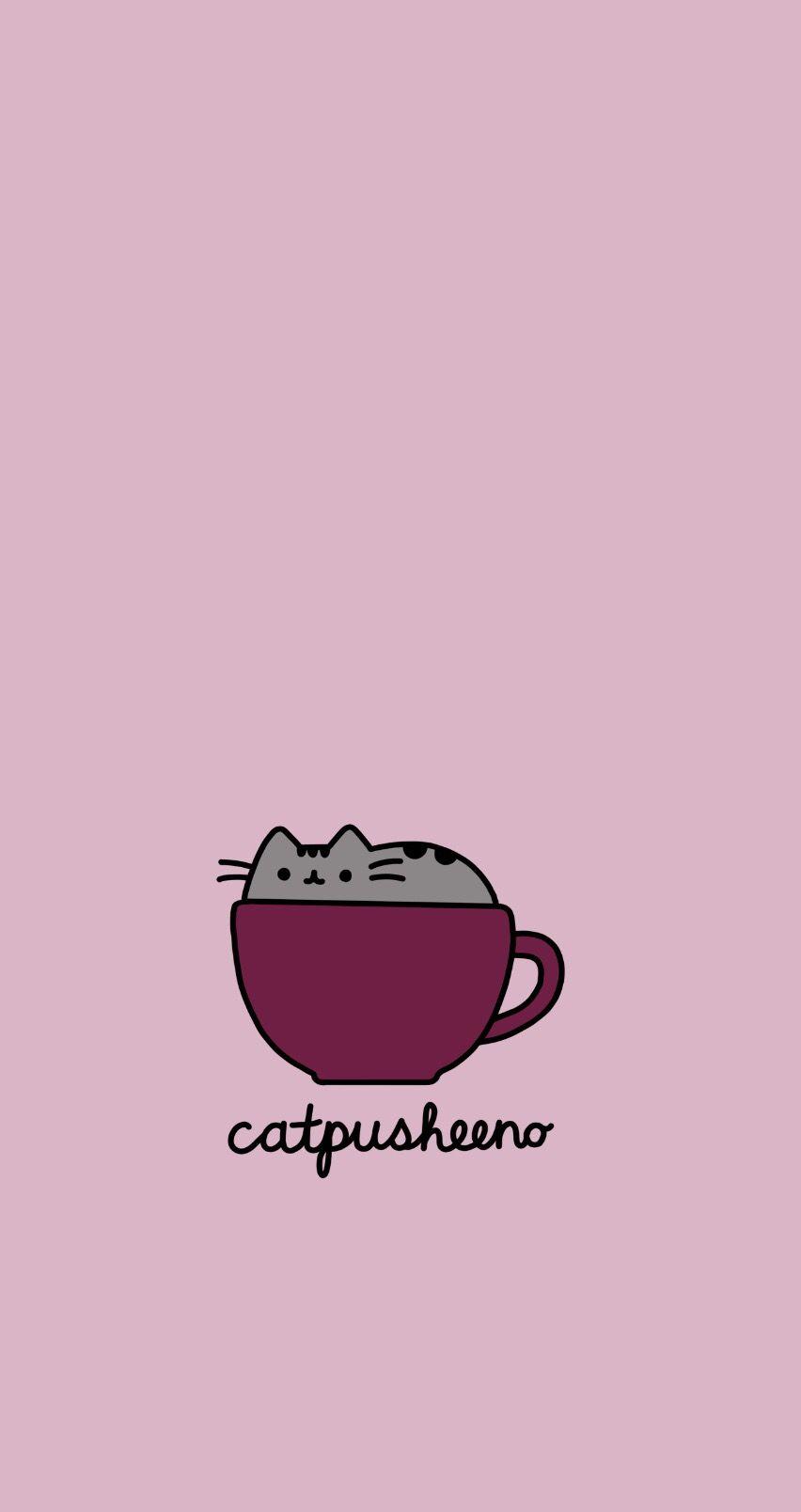 Catpusheeno Pusheen Coffee Cappuccino Wallpaper Phone