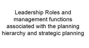Leadership Roles And Management Functions Associated With The Planning Hierarchy And Strategic Planning Nur Nursing Administration Leadership Roles Leadership