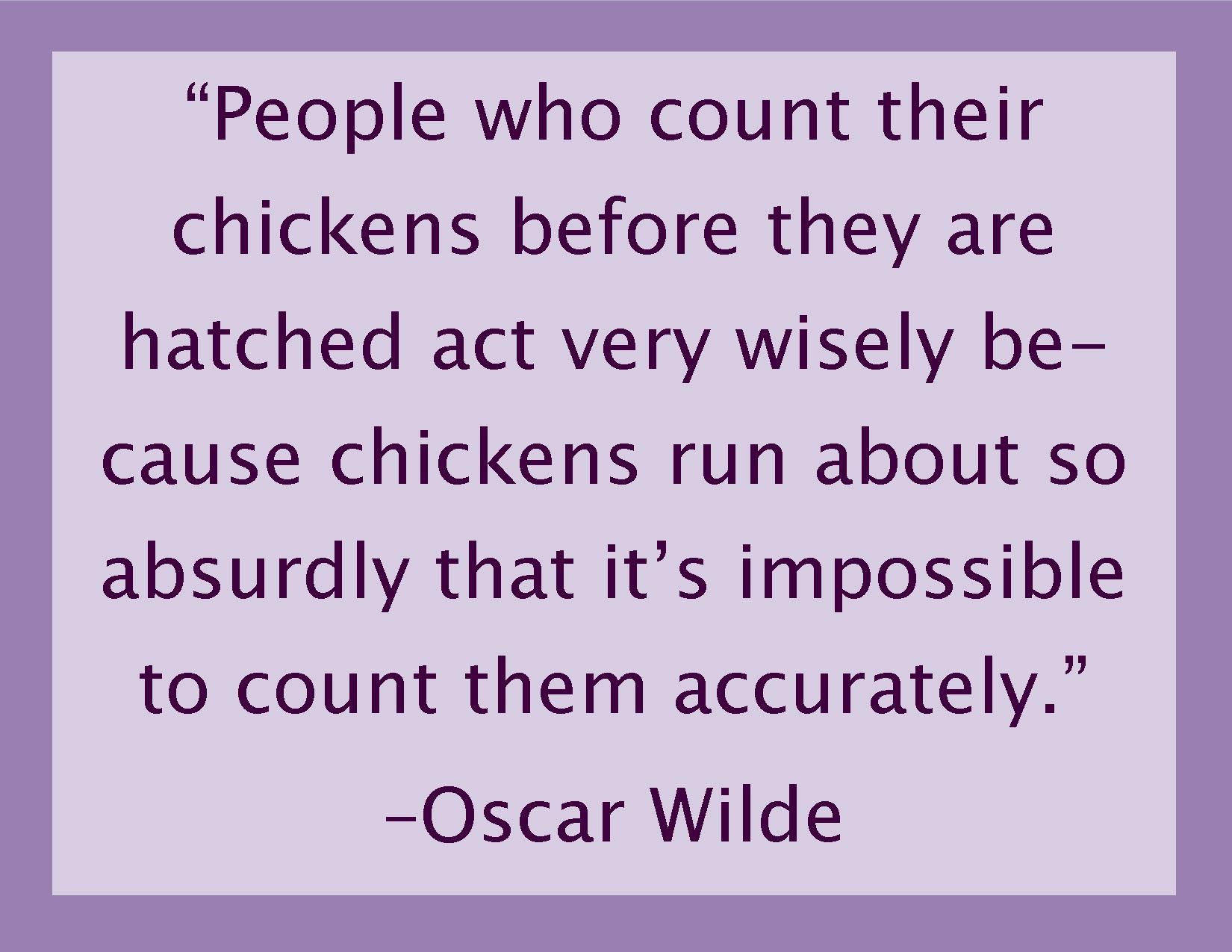 Quotes About Raising Chickens: Counting Running Chickens