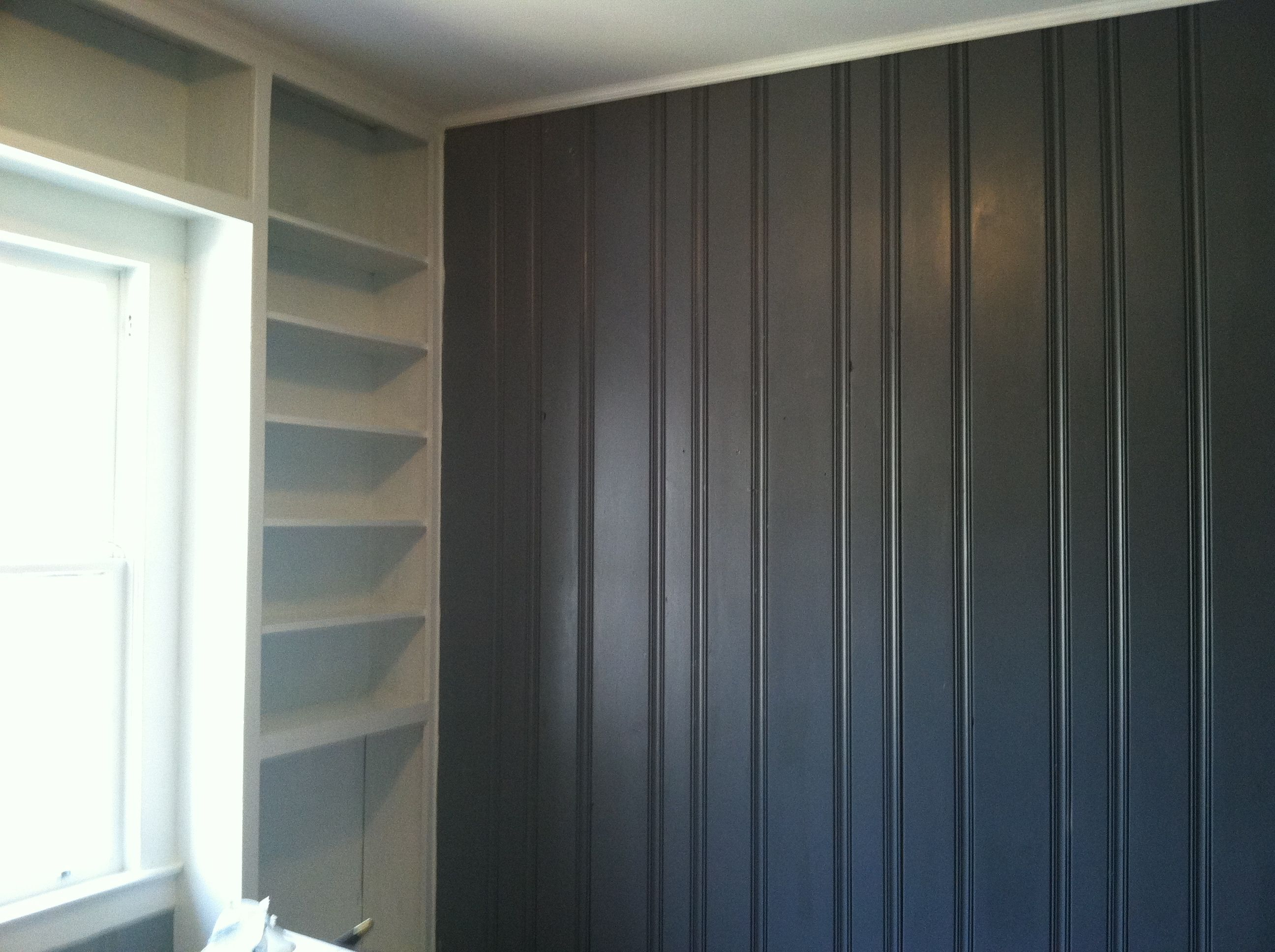 painted dark wood paneling grey and white shelving turned out great our remodelour projects. Black Bedroom Furniture Sets. Home Design Ideas
