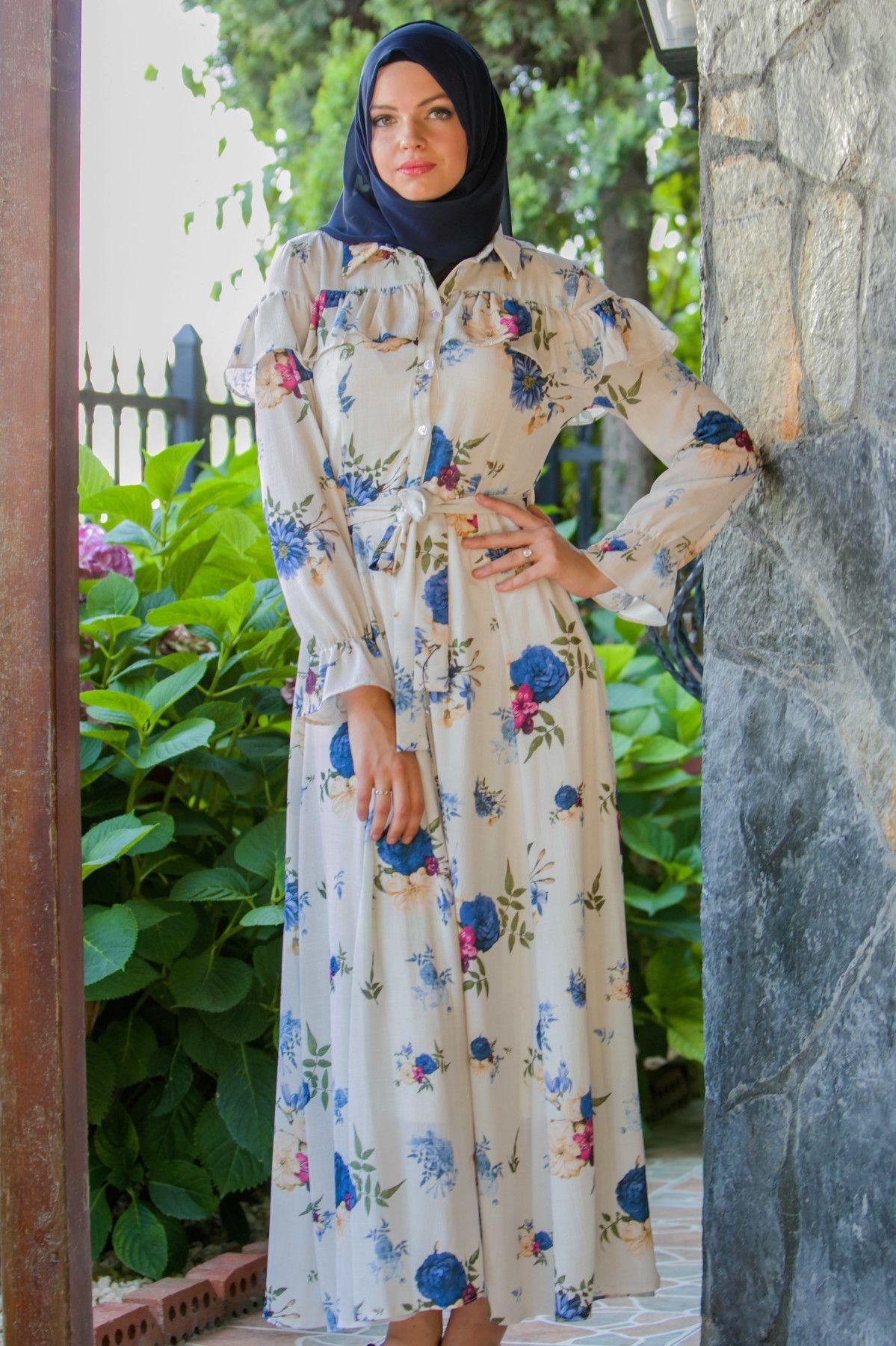 Acik Renk Cicekli Yazlik Tesettur Elbise Modelleri Moda Stilleri Elbise Modelleri Elbise