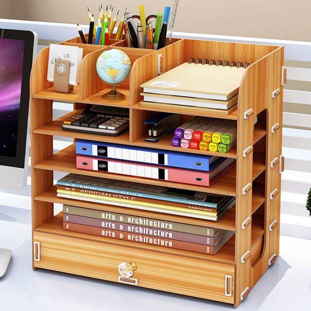 Bricolage multi-couche boîte de rangement de bureau Documents livres étagère de rangement Simple ...