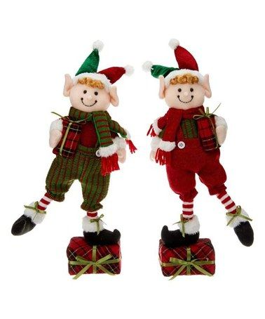This Holiday Elf Figurine - Set of Two is perfect! #zulilyfinds - christmas carousel decoration