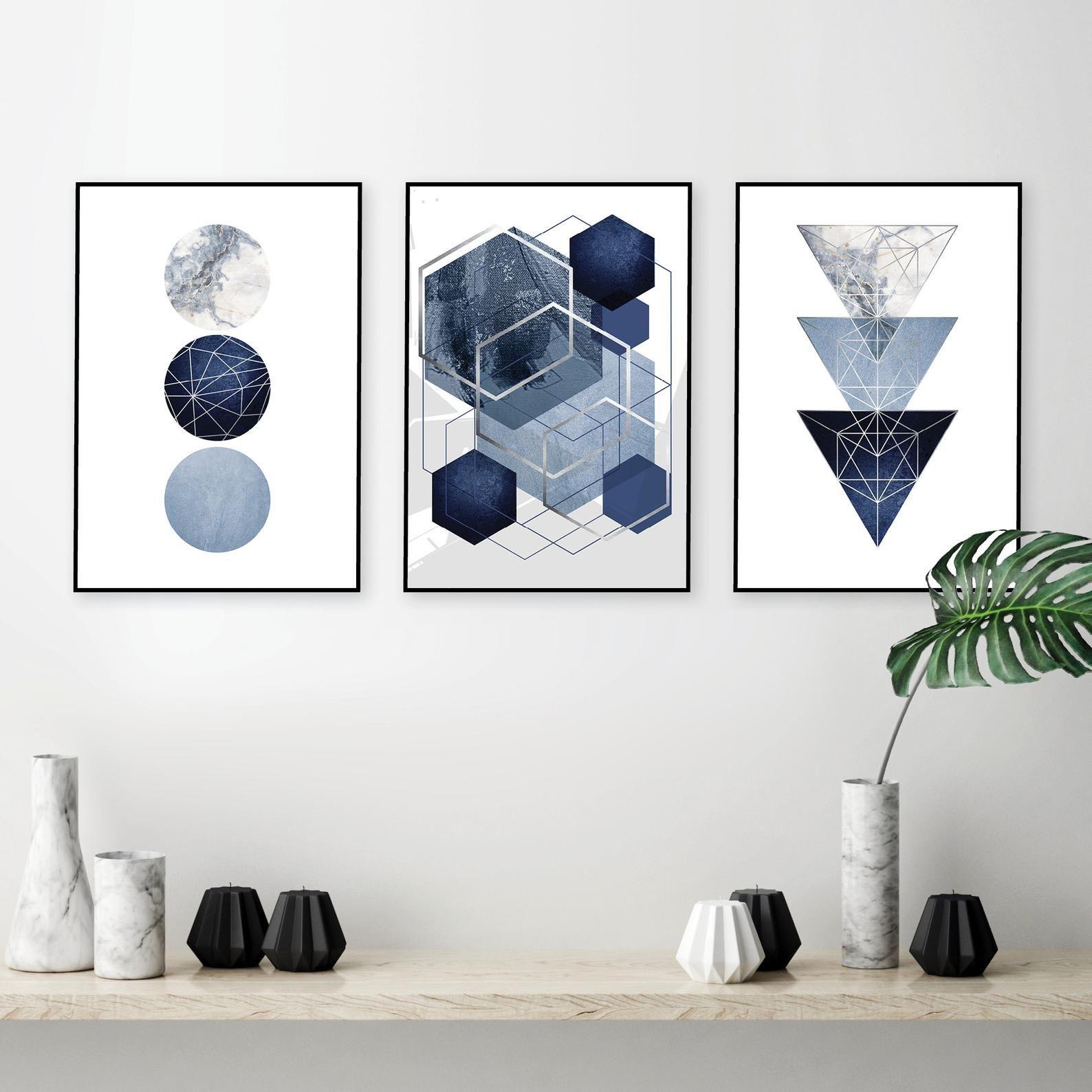 Set Of 3 Downloadable Navy Blue Silver Geometric Prints Digital