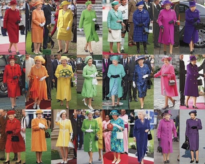 macleans:  Why the Queen Avoids Beige-a rainbow look at Queen Elizabeth's outfits
