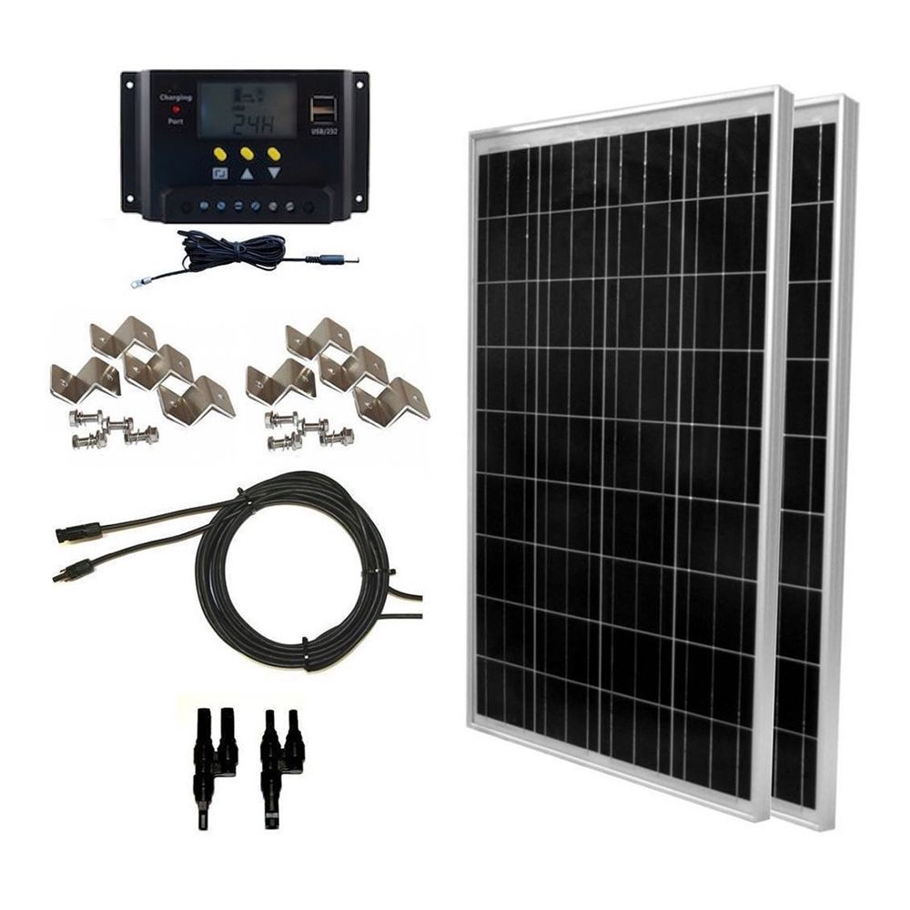 200 Watt Solar Panel Complete Off Grid Rv Boat Kit With Lcd Pwm Charge Controller Solar Cable Mc4 Connectors Mounting Brackets Global Solar Supply Solar Panel Kits Rv Solar Panels Rv Solar