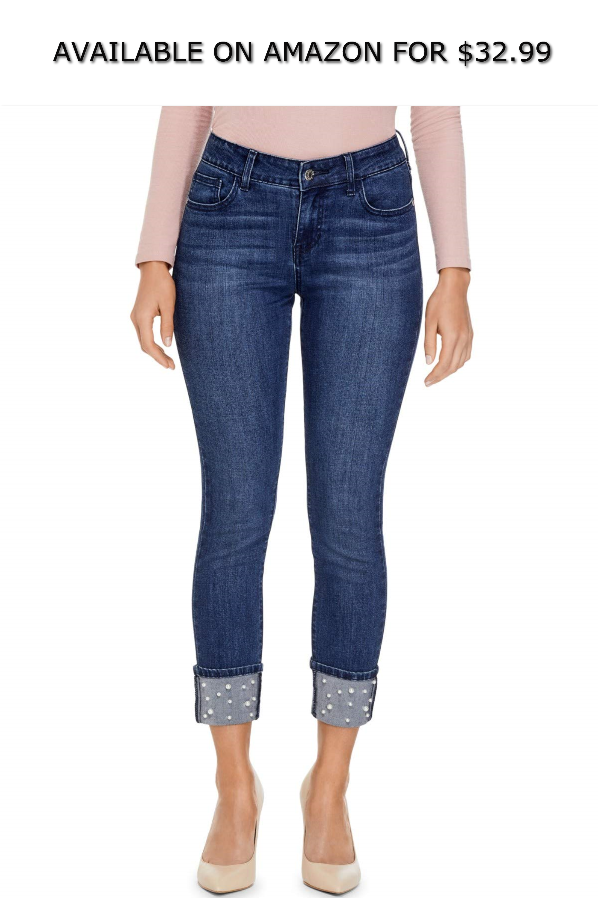 23564d3b25e GUESS Factory Women s Betra Faux-Pearl Cuffed Crop Jeans ◇ AVAILABLE ON  AMAZON FOR