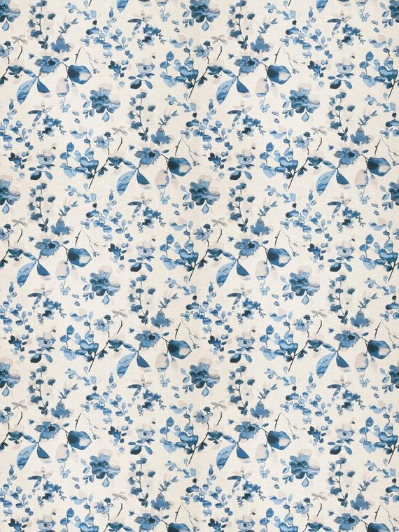 Dark Blue Floral Upholstery Fabric Navy Blue Curtains Fabric Blue