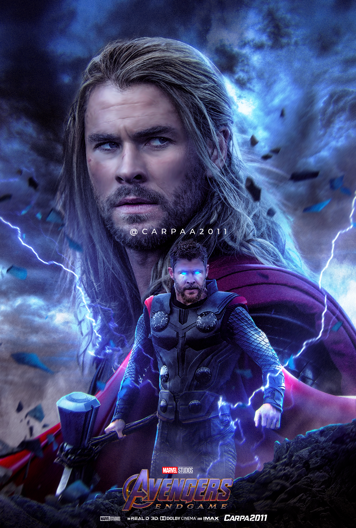 Poster Fanart Thor In Endgame By Carpaa2011 Marvel Game Of