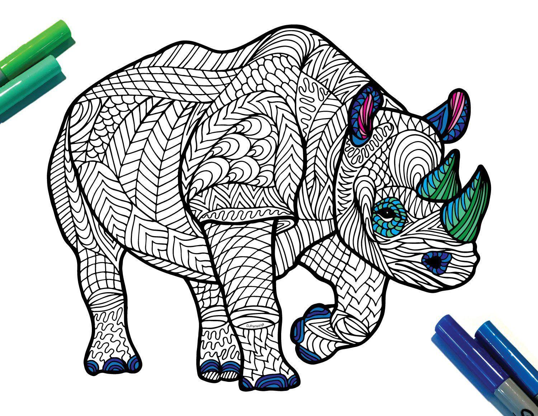 Black Rhinoceros Endangered Animal PDF Zentangle