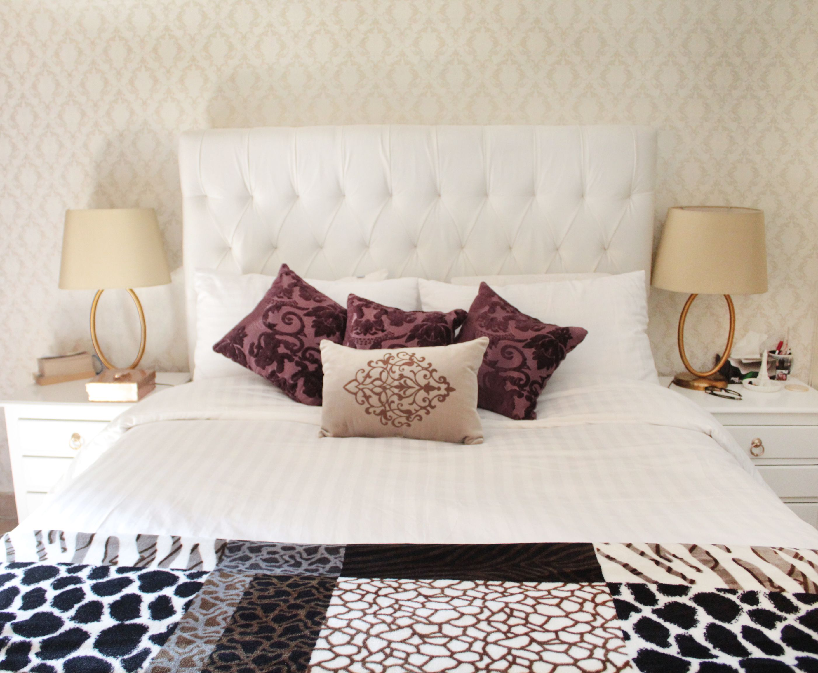 White and gold bedroom Tufted headboard ivory gold tufted lamps