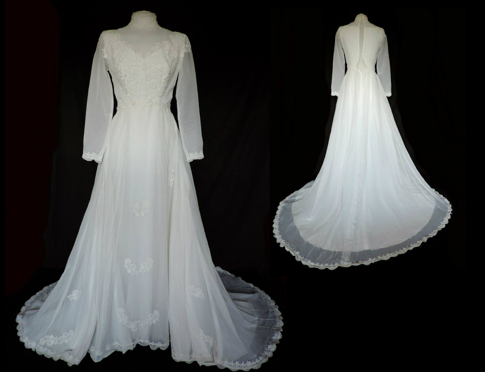 vintage Ronald Joyce 60s bridal WHITE WEDDING DRESS with