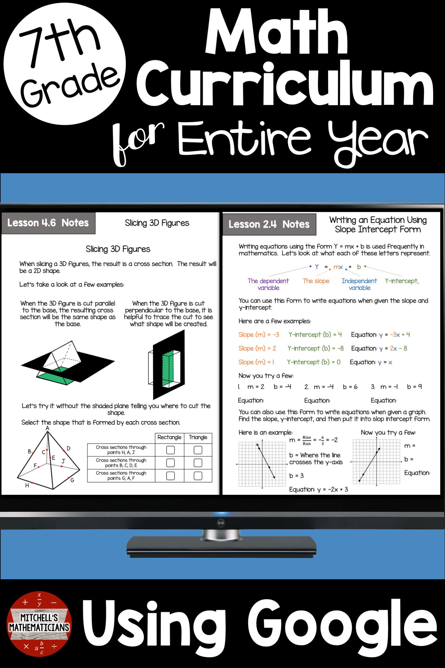 7th Grade Math Curriculum Common Core Aligned Using
