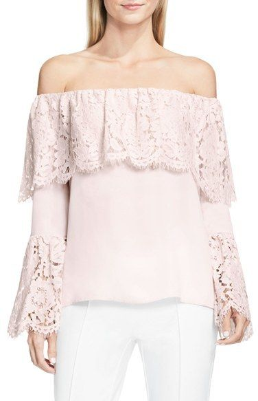 d672edfb46eb3 Light pink off the shoulder ruffle top. Vince Camuto Lace Trim Off the Shoulder  Blouse