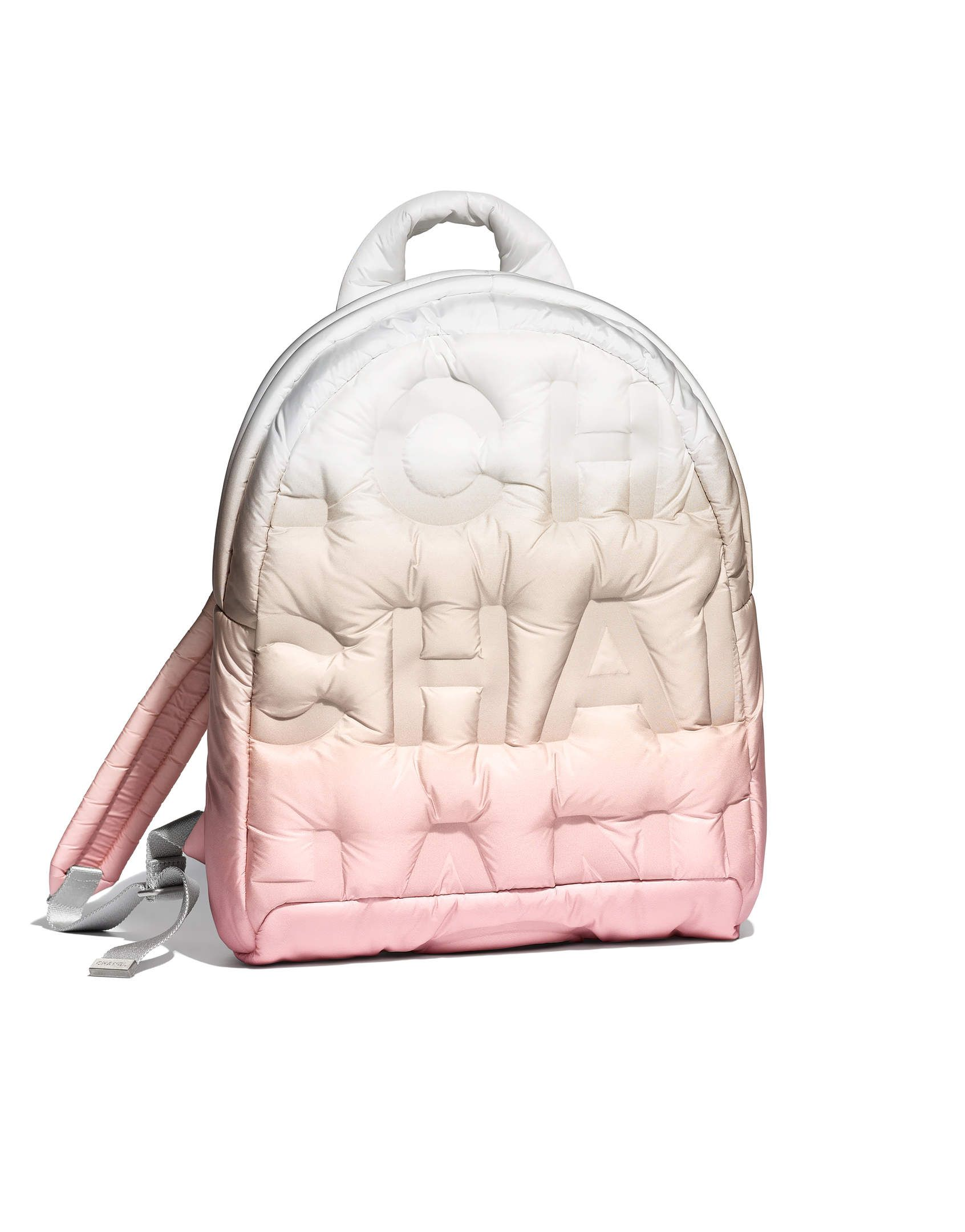 b94595484 Backpack, embossed nylon & silver-tone metal-pink, beige & white - CHANEL
