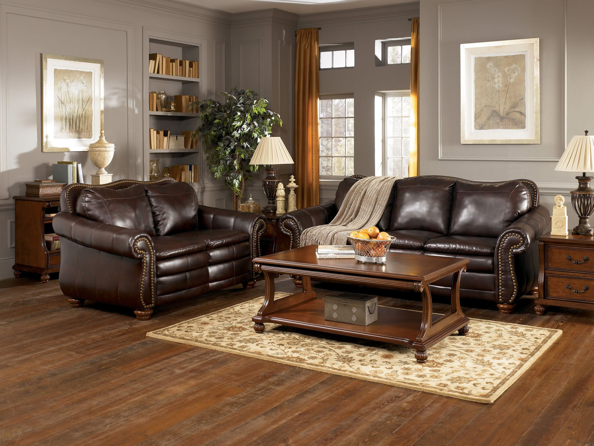 Fetching grey living room with brown furniture design for Decorating ideas for living rooms with brown leather furniture