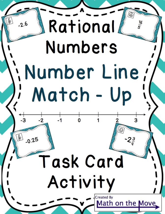 Rational Numbers on a Number Line - Task Card Activity (6.NS.6 ...