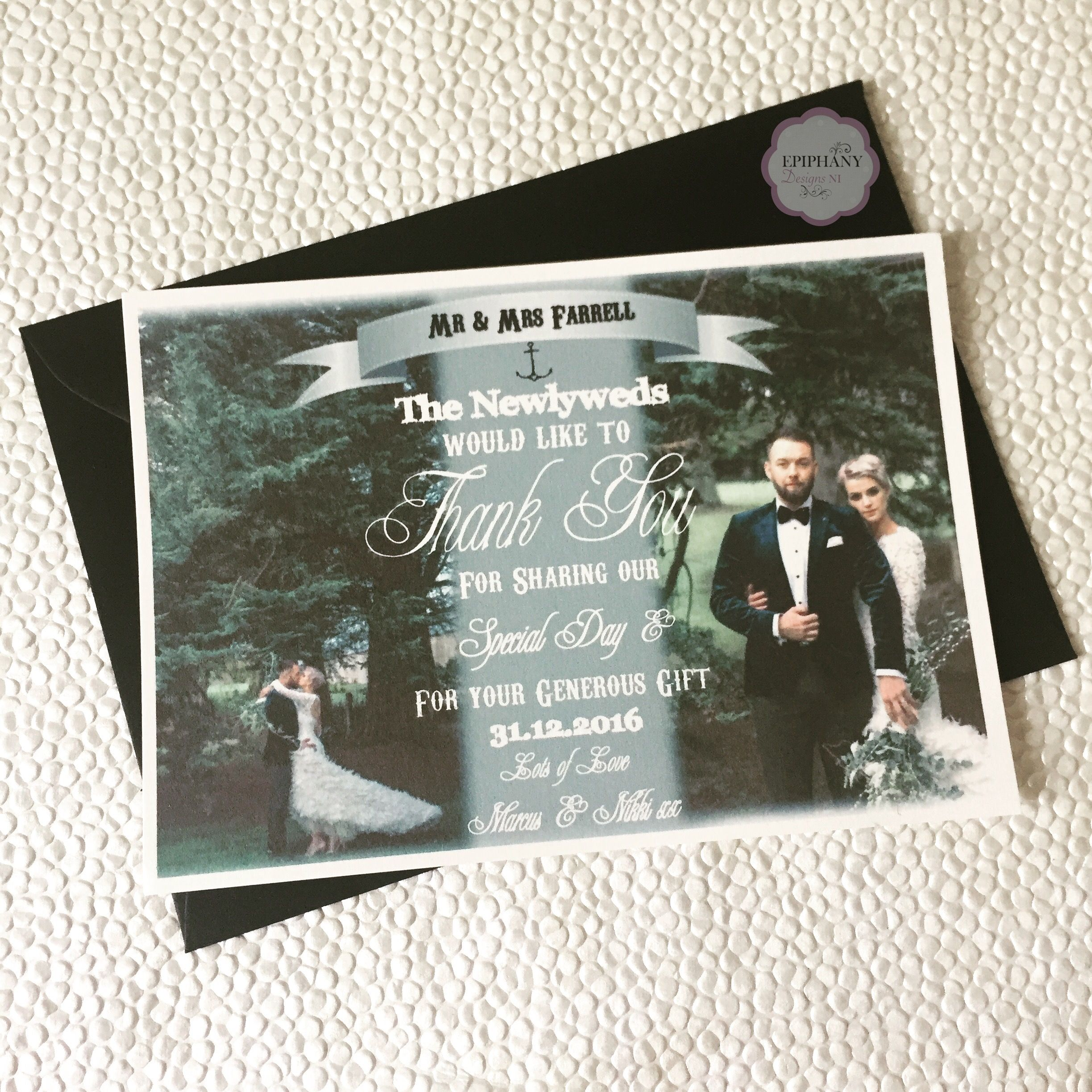 Wedding thank you postcard with photo By Epiphany Designs NI