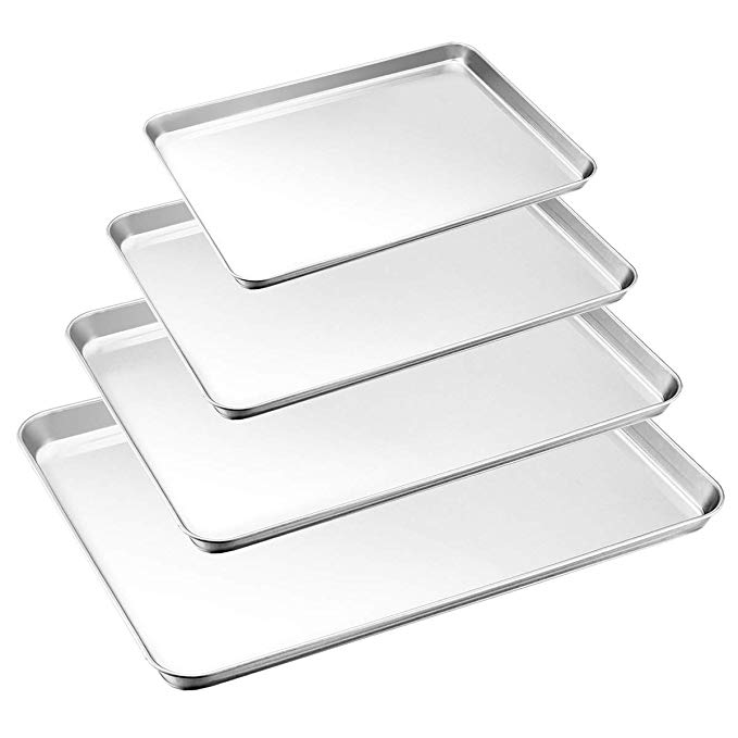 Baking Tray Set Of 4 Haware Stainless Steel Baking Sheet Rimmed Pan Baking Sets Healthy Non Toxic Easy Cle Baking Tray Set Clean Dishwasher Easy Cleaning