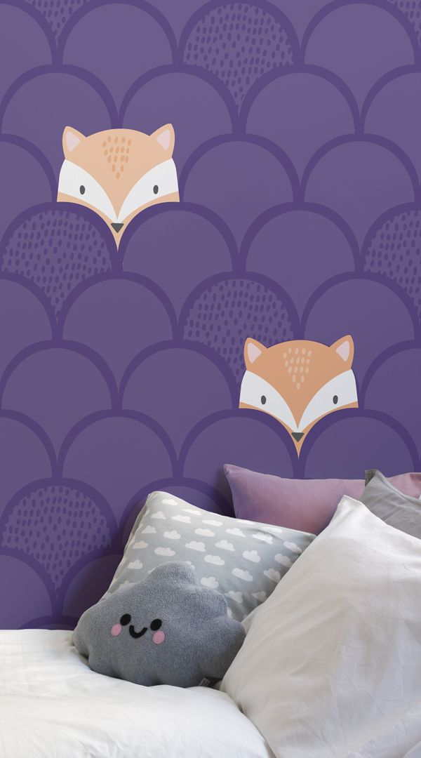Tapeten-Wandbild für Kinder, lila, Fuchsmotiv Purple backgrounds