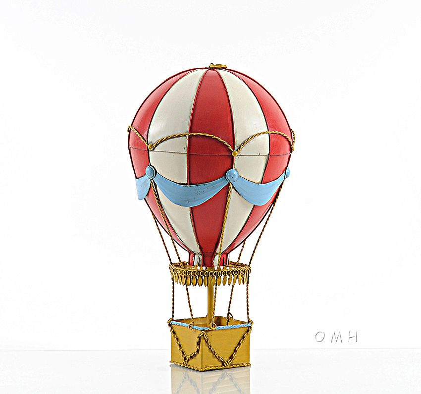 Red Hot Air Balloon 3d Toy Metal Model 14 5 Hanging Decor For