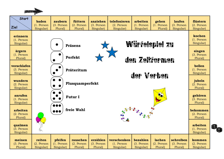 Wurfelspiel Zeitformen Unterrichtsmaterial In Den Fachern Daz Daf Deutsch Wurfelspiele Zeitformen Daf