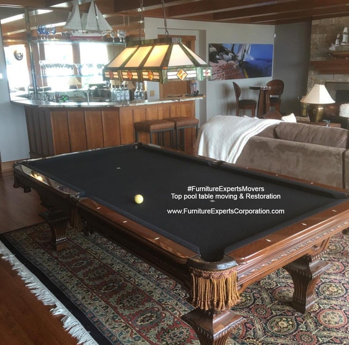 Billiard pool table moving refelting recovering