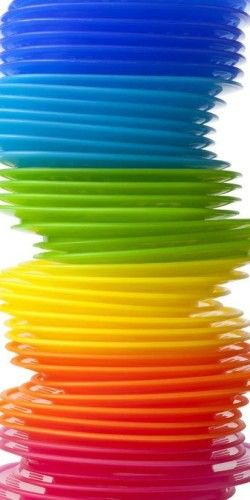 Photo about Pile of rainbow colored plastic plates on white background - 16606680  sc 1 st  Pinterest & plastic plates~ | Colorful | Pinterest | Rainbows Rainbow colors ...