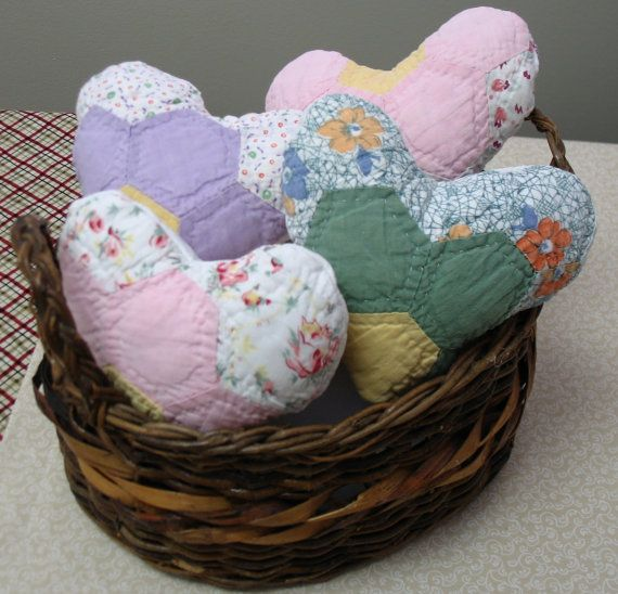 4 quilted fabric hearts made from vintage quilt by lovesquilting, $20.00