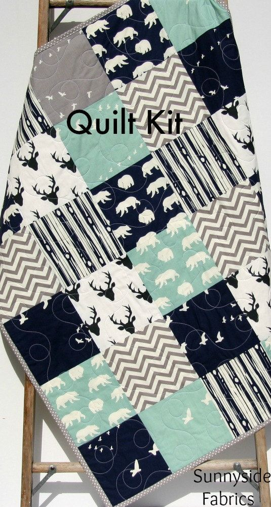 Quilt Kit Woodland Boy Rustic Navy Blue Mint Green Grey