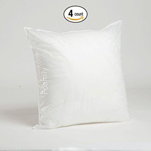 Foamily Set Of 4 Premium Hypoallergenic Stuffer Pillow Insert Sham Square Form Polyester 20 L X