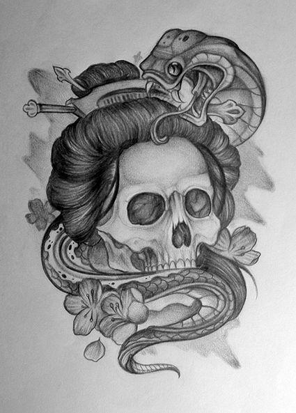 geisha skull tattoo - Google keresés