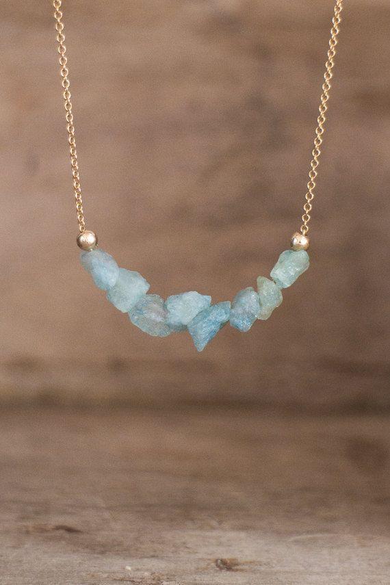 Photo of Raw Aquamarine Necklace, Birthstone Jewelry, Crystal Necklace, Throat Chakra Necklace, Scorpio Necklace, Raw Stone Jewelry Gift