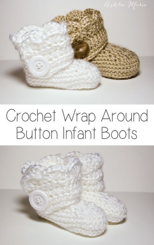 free crochet pattern for these wrap around button booties, infant ...